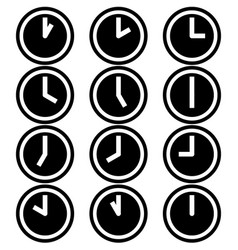 clocks hours symbols icons simple white black set vector image