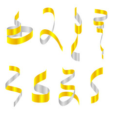 collection confetti ribbons vector image