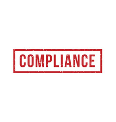 compliance rubber red stamp square grunge red vector image