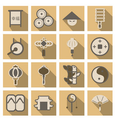 Concept of flat icons in chinese style vector