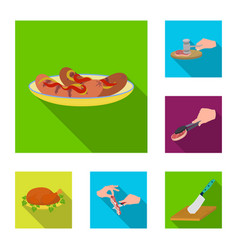 Cooking food flat icons in set collection for vector