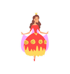 cute beautiful princess in red dress fairytale or vector image