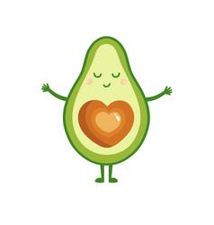 cute cartoon avocado want to hugs greeting card vector image