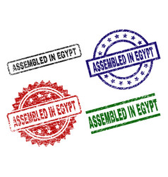 damaged textured assembled in egypt stamp seals vector image