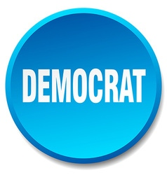 Democrat blue round flat isolated push button vector
