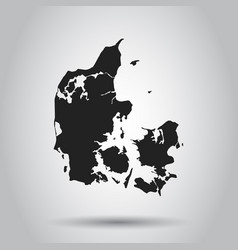 Denmark map black icon on white background vector
