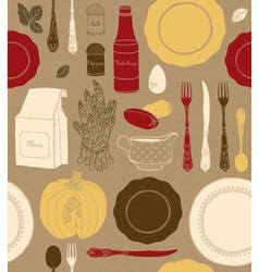 Different tableware food ingredients vector