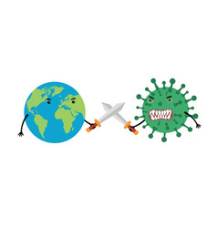 earth uses swords to fight coronavirus the vector image