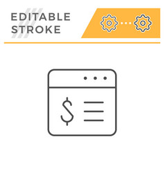 financial application editable stroke line icon vector image