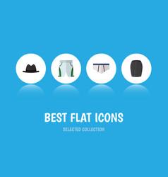 flat icon clothes set of stylish apparel panama vector image