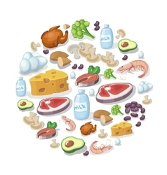 Flat icons of meat and dairy products vector