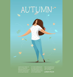 flat of woman in autumn leaves vector image