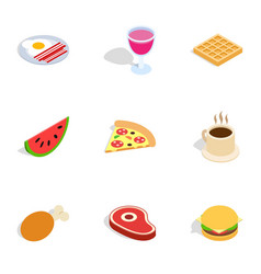 Food and drinks icons isometric 3d style vector