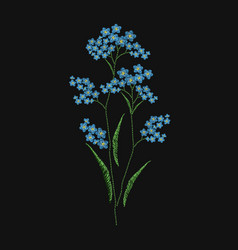 Forget-me-not flower embroidered with blue and vector