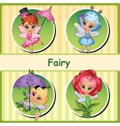 Four cute fairies - pink blue purple and Rose vector image