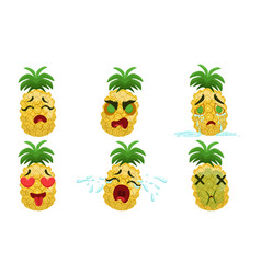 funny pineapple cartoon character with various vector image