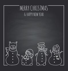 funny snowmen on a black board vector image