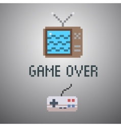 Game over old school 8 bit game poster vector
