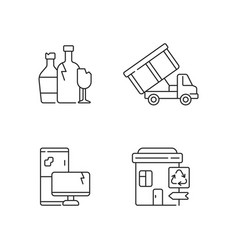 Garbage management linear icons set vector