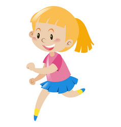 Girl with blond hair running vector
