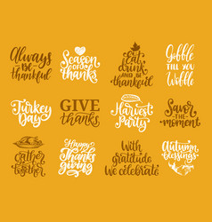 give thanks turkey time etc handwritten vector image