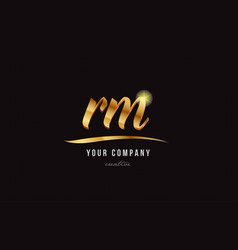 Gold alphabet letter rm r m logo combination icon vector