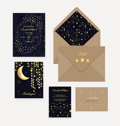 gold wedding invitation save date thank you vector image