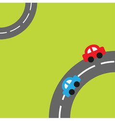 Grass with two roads in the corners cartoon car vector image