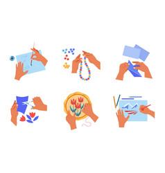handmade art or craft human hands hobisolated vector image