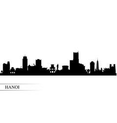 Hanoi city skyline silhouette background vector