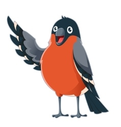 Happy cartoon Bullfinch vector image