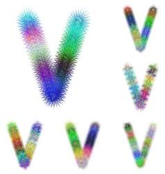 Happy colorful fractal font set - letter V vector image