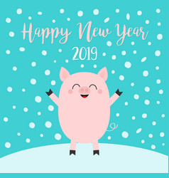Happy new year 2019 pig on snowdrift falling vector