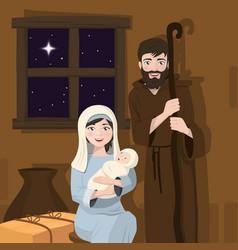 holy family foreground christmas nativity scene vector image