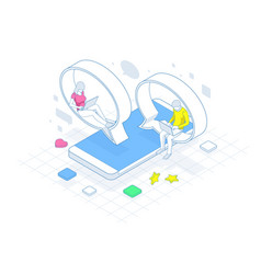 isometric concept of social media network digital vector image