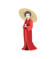 Japanese Geisha With Paper Umbrella vector
