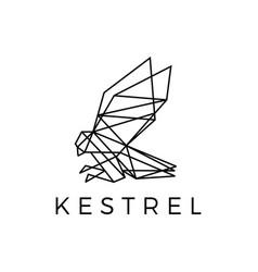 kestrel bird geometric outline polygonal logo icon vector image