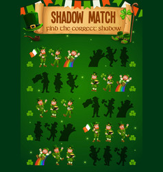 Kids game shadow match with funny leprechauns vector