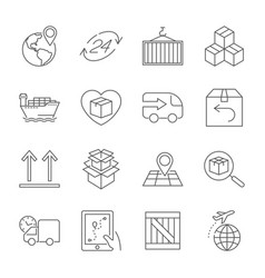 logistics icons editable stroke vector image