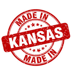 Made in kansas red grunge round stamp vector