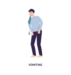 Man character releasing a stream vomit flat vector