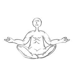 Meditating monk vector