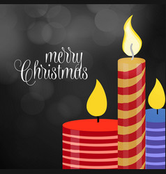 merry christmas candle glowing background vector image