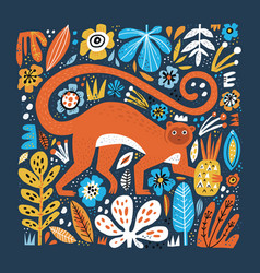 monkey flat hand drawn floral background vector image