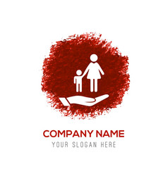 Mother and child in hand icon - red watercolor vector