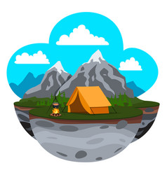 mountain landscape camp vector image