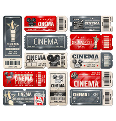 movie theater cinema retro vintage tickets vector image