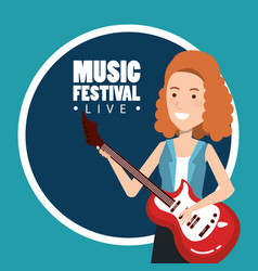 Music festival live with woman playing electric vector
