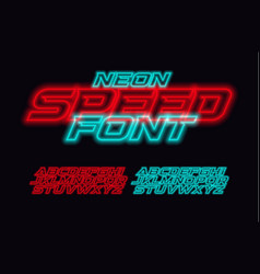 neon speed letters set red and blue race font vector image