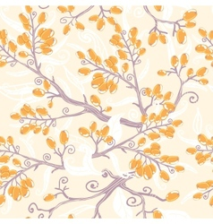 Orange buckthorn berries seamless pattern vector image